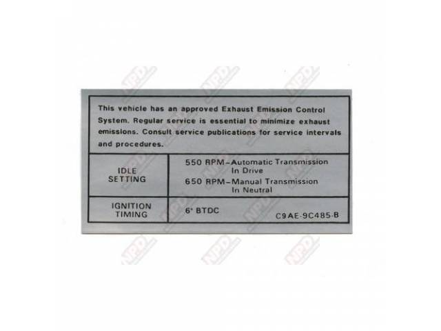 DECAL Engine Compartment Emissions C9AE-9C485-B