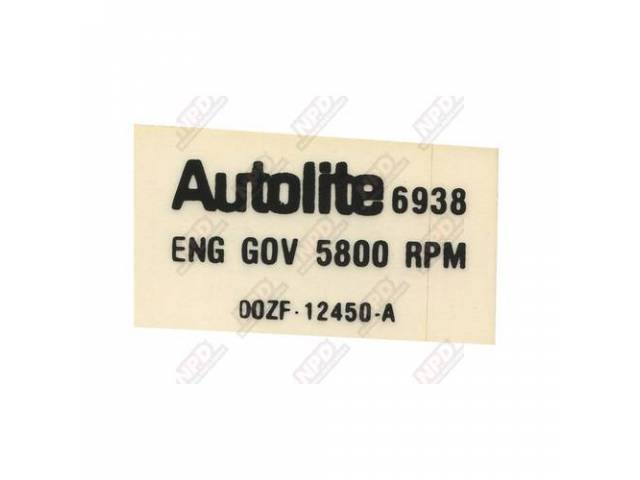 DECAL Engine Compartment Rev limiter DOZF-A