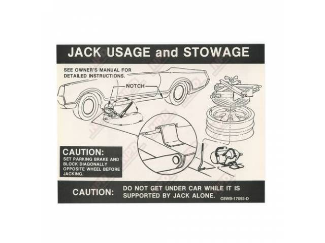 DECAL, Truck, Jack instructions, C8WB-D