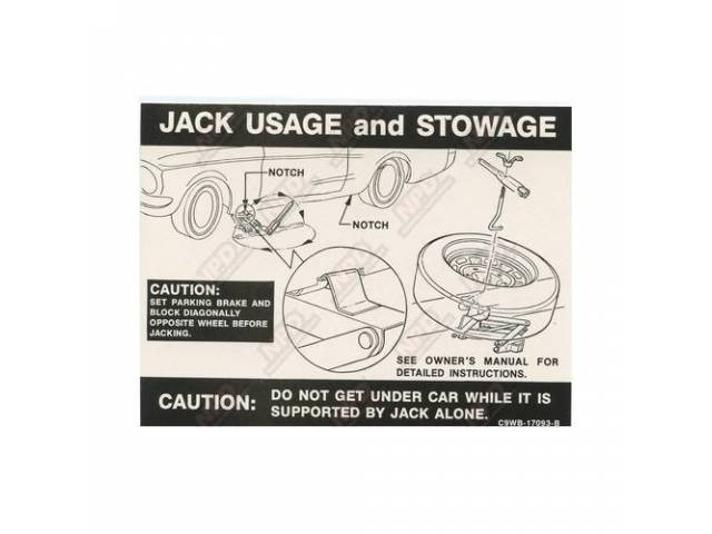 DECAL Trunk Jack instructions C9WB-B