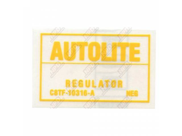 DECAL Engine Compartment voltage regulator Autolite C8TF-A