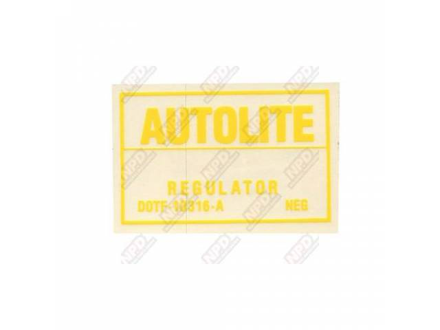 DECAL Engine Compartment voltage regulator Autolite D0TF-A
