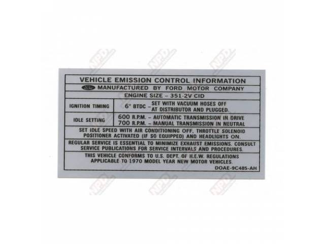DECAL Engine Compartment Emissions D0AE-9C485-AH